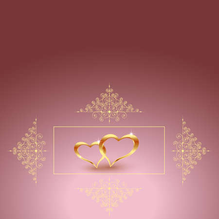 Gold metal heart for Valentine s day on a red background. Beautiful hearts.