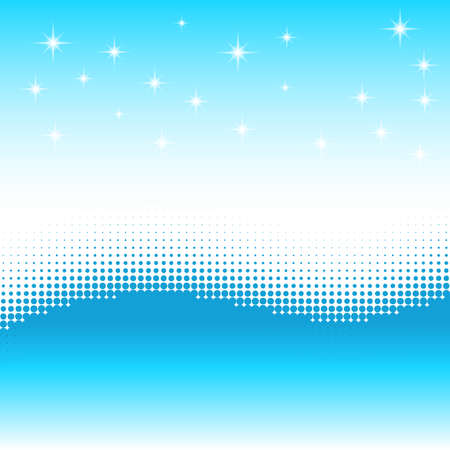vanishing point: Wave background with halftone effect. Stars, snow wave. Illustration
