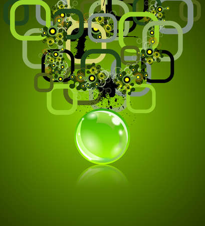 informatics: Concept with rectangles and sphere. Grunge elements on back. Vector illustration
