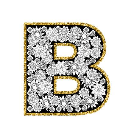 Hand drawn floral alphabet design. Gold glittering contour. Letter B. Vector EPS8 illustration.