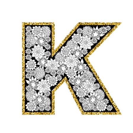 Hand drawn floral alphabet design. Gold glittering contour. Letter K. Vector EPS8 illustration. Illustration