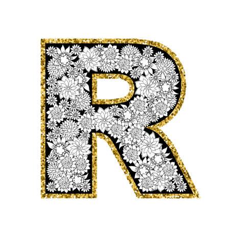 R: Hand drawn floral alphabet design. Gold glittering contour. Letter R. Vector EPS8 illustration.