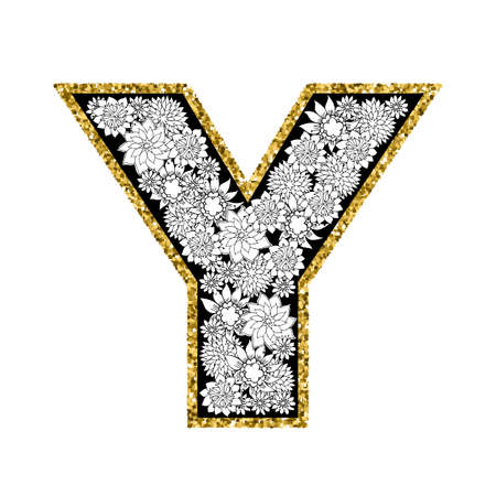 Hand drawn floral alphabet design. Gold glittering contour. Letter Y. Vector EPS8 illustration.