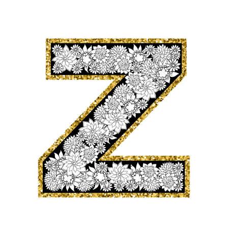 Conception d'alphabet floral dessiné à la main. Contour scintillant d'or. Lettre Z. Illustration vectorielle EPS8.