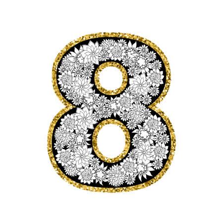 digit 8: Hand drawn alphabet design. Digit 8. Gold glittering contour. Stipple effect. Vector EPS8 illustration.
