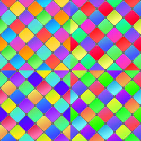 Colorful geometrical abstract seamless pattern background. Set of seamless vector patterns.