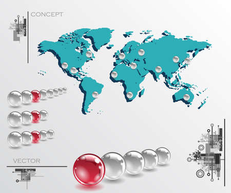 geolocation: Map with balls as pins. Infographic concept illustration. Geolocation interface map
