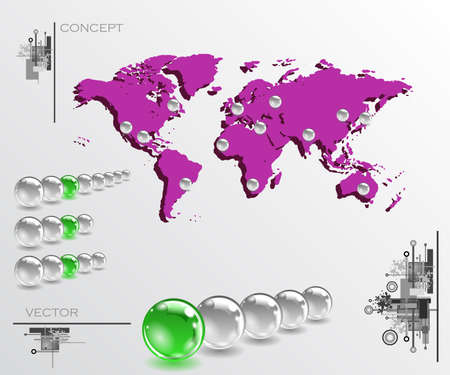 Map with balls as pins. Infographic concept illustration. Geolocation interface map