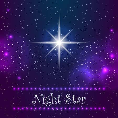 star sky: Night star on the sky. Night star sky with one polar star. Vector illustration.