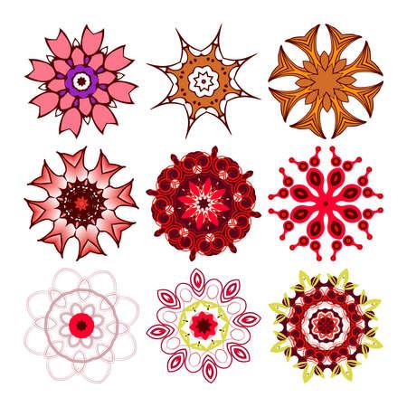 Beautiful ornamental rosettes set. For ethnic or tattoo design. Vector illustration Illustration