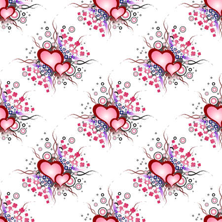 Set of grunge hearts pattern.