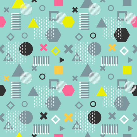 Trendy memphis cards. Abstract seamless pattern. Retro style texture, pattern and geometric elements. Modern abstract design poster, cover, card design. Vector Illustration
