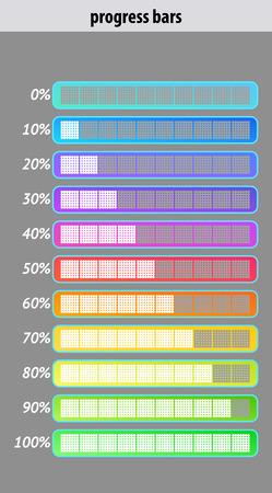Ensemble de barres de progression colorées. Design de l'interface utilisateur. Illustration vectorielle. Vecteurs