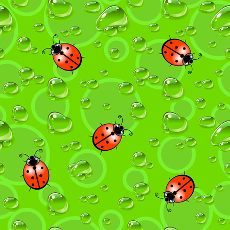 Seamless texture with ladybugs and dew drops.