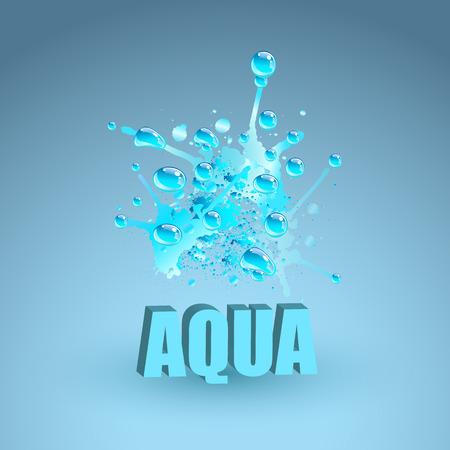 Blue water splash, vector illustration. Realistic water drops