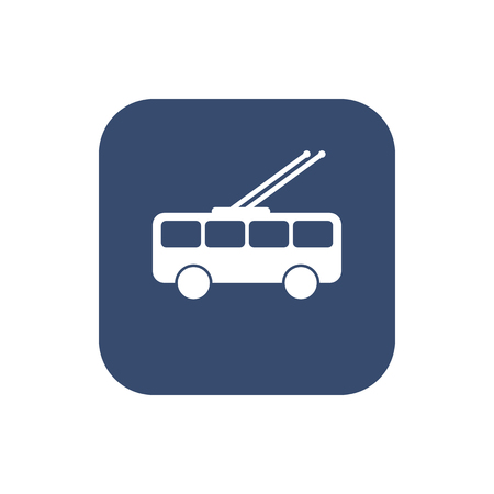 City transport vector flat design on dark background. Trolleybus