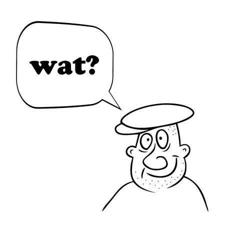 What or wat memo in question of funny guy. Internet Slang. Vector 向量圖像