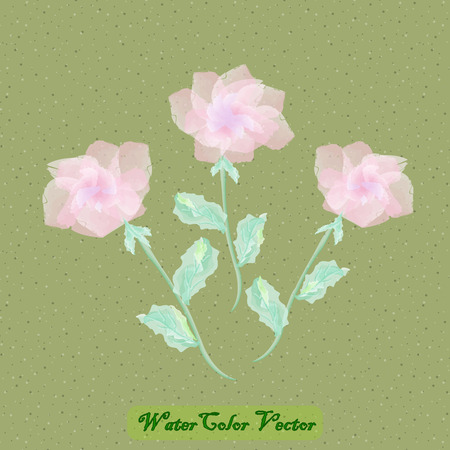 Vector Watercolor Flowers. Spring Watercolor Vector Flowers  イラスト・ベクター素材