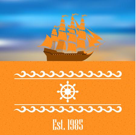 Sailboat logo for yacht club or marina Illustration
