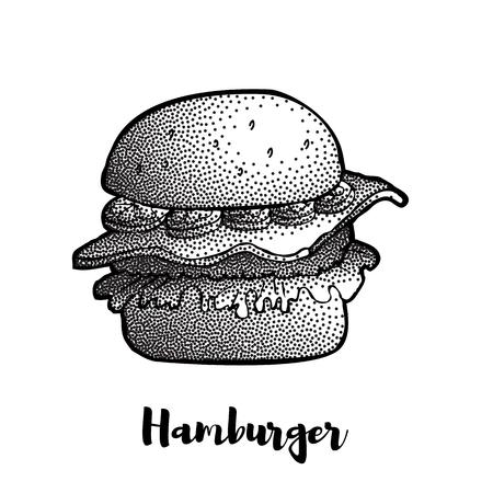 Hand Drawn Illustration of Hamburger, Cheeseburger, Burger. Dotted effect