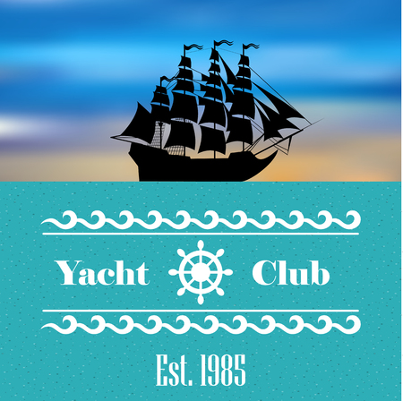 Sailboat logo for yacht club or marina Illustration