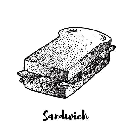 Sandwich hand drawing. VECTOR sketch. Great for restaurant menu or banner Illustration