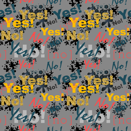 Seamless vector texture in grunge style. YES and NO pattern.