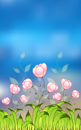 Summer or spring floral design. Useful for fashion prints, fabrics, dresses. Vector illustration.