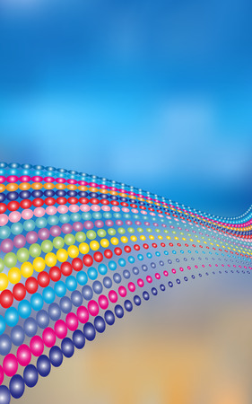 Abstract vector background with colored balls on the sky Vectores
