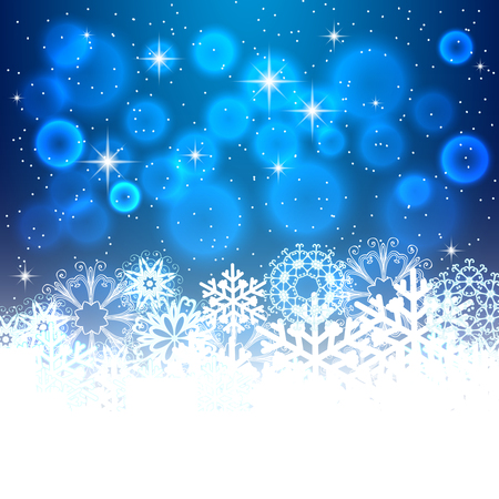 Abstract Christmas Background. Snowflakes, night sky.