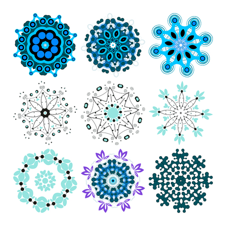 Vector beautiful ornamental rosettes set. For ethnic or tattoo design. Ilustrace