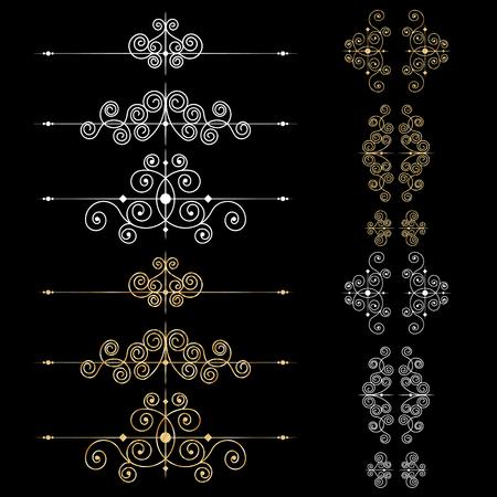 Conjunto de elementos de decoración de página o monogramas. Se puede utilizar para diseñar libros, tarjetas, menús, anuncios, tatuajes, etc.