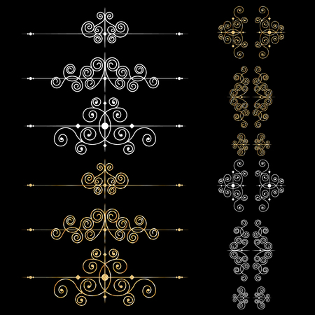 Zestaw elementów dekoracji strony lub monogramów. Może być używany do projektowania książek, kartek, menu, reklam, tatuaży itp.