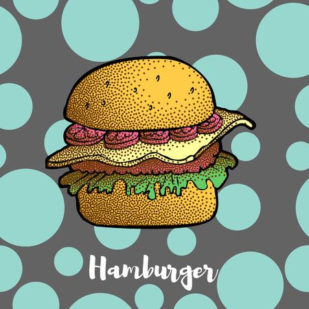 Hand Drawn Illustration of Hamburger, Cheeseburger, Burger. Dotted effect Vector
