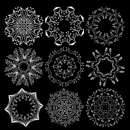 Beautiful ornamental rosettes set. For ethnic or tattoo design.