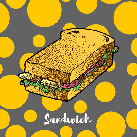 Sandwich hand drawing. VECTOR sketch. Great for restaurant menu or banner Иллюстрация