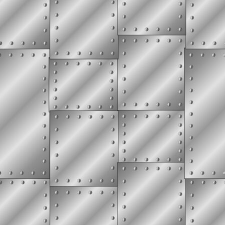 Seamless vector texture with riveted metal sheets.