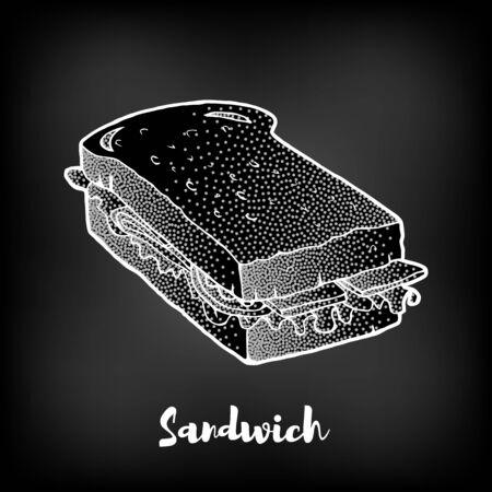 Chalk painted sandwich. Fast Food menu theme. Çizim