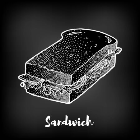 Chalk painted sandwich. Fast Food menu theme. Illustration