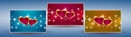 Beautiful greeting banner with hearts