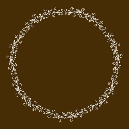 Gold color round abstract ethnic ornament. Based on old greek, arabic and turkish motifs. For textile, invitations, banners and other