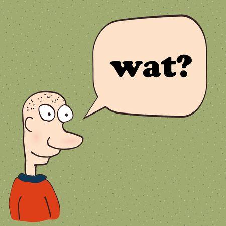 Cartoon man talking or thinking. Vector illustration.