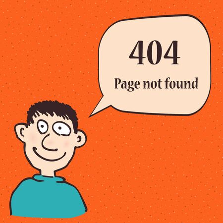 404 error page. Funny 404 error symbol with cartoon character of man. Illustration