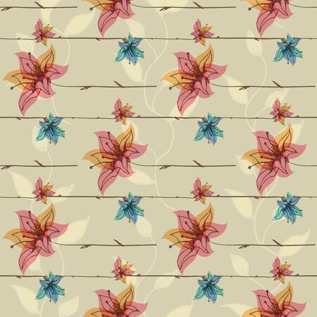 Floral seamless pattern with blooming flowers. Illustration
