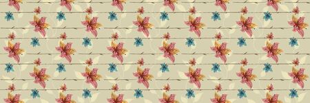 Floral seamless pattern with blooming flowers. Watercolor effect imitation, aquarelle paints. Illustration