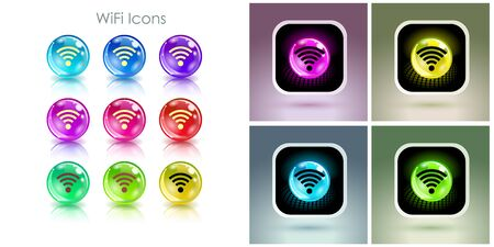 Color balls with wifi symbol app icon. Useful for wifi cafes, wireless internet zones, terminals, etc.