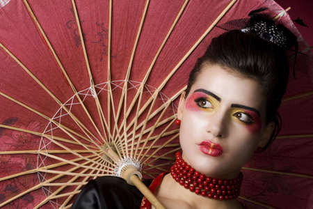 beautiful geisha portrait in studio Stock Photo