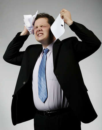 Businessman crying about unsuccess. Studio shot. Look for more in my portfolio Stock Photo - 6735842