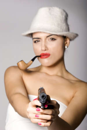 Mujer de la mafia Serie de la foto. Estudio de disparo photo