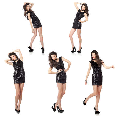 dancing girl: Collage of five isolated images of an attractive fashion model posing in black sequin dress. High resolution studio shots.